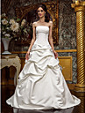 A-line/Princess Plus Sizes Wedding Dress - Ivory Sweep/Brush Train Strapless Satin
