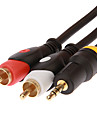 jsj® 3m 9.84ft 3.5mm stereo male a 2 cable audio RCA male - noir