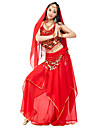 Belly Dance Outfits Women\'s Performance Chiffon Beading / Coins / Draped 4 Pieces Natural Top / Skirt / Headpieces / Hip Scarf