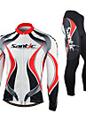 SANTIC-Men\'s Cycling Jersey + Pants Warm Red and White Fleece Long Sleeve Thermal Cycling Suit