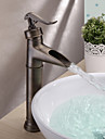 Antique Vessel Waterfall with  Ceramic Valve Single Handle One Hole for  Antique Brass , Bathroom Sink Faucet