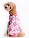Hundar Tröjor Blå Vit Rosa Hundkläder Vinter Pläd/Rutig