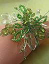 Grön blom Akrylpärlor Servett Ring, Dia4.2-4.5cm Set med 12