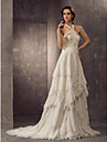 Lanting Bride® Sheath / Column Petite / Plus Sizes Wedding Dress - Classic & Timeless / Elegant & Luxurious Spring 2014 Court Train Halter