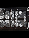 12PCS White Lace Transparent med Strass Glitter Bröllop Nail Stickers blommönster
