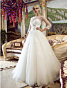 A-line/Princess Wedding Dress - Ivory Court Train Bateau Tulle