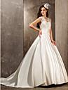 Lanting Bride® A-linje Prinsesse Petit Plusstørrelser Brudekjole - Elegant og luksuriøs Glamourøs og dramatisk Børsteslæb Dronning Anne