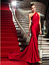 TS Couture Military Ball / Formal Evening Dress - Ruby Plus Sizes / Petite Trumpet/Mermaid One Shoulder Sweep/Brush Train Jersey