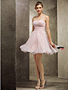 Homecoming Short/Mini Chiffon Bridesmaid Dress - Pearl Pink Plus Sizes A-line Sweetheart