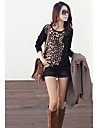Women\'s Fashion Trendy T-Shirt Long Sleeves Leopard Print Loose Blouse Tops