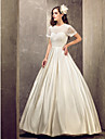 A-line Plus Sizes Wedding Dress - Ivory Floor-length Jewel Satin