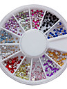 12 couleurs nail art acrylique 2mm Strass decoration Nail Art