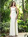 Vestido de Noiva - Marfim Trapezio Quadrado Comprido Georgette Tamanhos Grandes