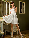 A-line Plus Sizes Wedding Dress - Ivory Knee-length One Shoulder Lace
