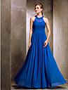 Robe de Demoiselle d\'Honneur - Bleu royal Fourreau Col ras du cou Longueur ras du sol Mousseline polyesterPomme/Sablier/Triangle