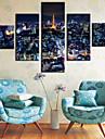 Stretched Canvas Print Art Landscape View of Paris Set of 5