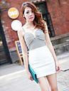 Hanguoyi Kvinnors Bodycon Kontrast Färg V Neck Dress