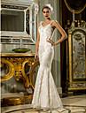 Mermaid / trompeta regina anne podea lungime dantelă stretch rochie de mireasă satinată cu beading de lan ting bride®