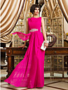 Formal Evening/Prom/Military Ball Dress - Fuchsia Sheath/Column Bateau Floor-length Chiffon