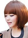 kvinnor bob brown fullt bang syntetiska korta raka peruker värmebeständiga fiber billiga cosplay party peruk hår