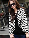 Kvinnors Casual Black White Stripe Oregelbunden Cardigan