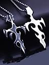 Personlig Present Män smycken Titan Stål Flame Formad Graverad hängande halsband med 60cm Kedja
