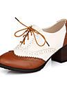 Chaussures Femme - Decontracte - Noir / Marron - Gros Talon - Bout Ferme - Richelieu - Faux Cuir