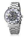 WINNER Bărbați ceas mecanic Ceas de Mână Mecanism automat Gravură scobită Oțel inoxidabil Bandă Argint Argintiu Albastru
