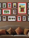 Svart Röd Mixed Color Foto Wall Frame Collection Set med 16