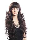 Hög kvalitet 20% Human Hair & 80% värmetåligt Fiber hår Capless Lång Wavy Wig (Blonde)