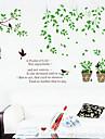 1pcs sticker mural plante en pot colore