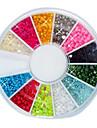 144PCS 12-2mm Couleur Petit Nail perles de boule de Nail Art Decotations
