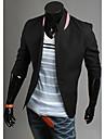 Mode Aowofs Hommes pied de col un bouton 3/6 Suit manches Manteau (Noir)