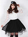 Black Lace Söt Lolita Princess Kawaii Muslin Skirt Lovely