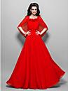 Linia -A Pătrat Lungime Gleznă Șifon Bal Seară Formală Bal Militar Rochie cu Flori Ruching de TS Couture®