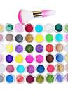 48 couleurs Glitter Powder Nail Art Decorations Avec Nail Art Brosse a epousseter