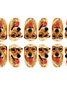 12st Härlig hund med glasögon Mönster Luminous nagel konst Stickers