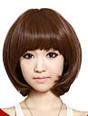 Kort Lockigt hår Light Brown Synthetic Full Bang Peruker