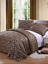 Duvet Cover Set 3 Piece Polyester Traditional Style Jacquard Floral Coffee