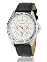 Men\'s Racing Dial Silver Case Leather Band Quartz Wrist Watch (Assorted Colors)