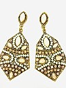 The European And American Style Hexagon Earrings-Beige