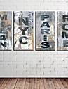 Toiles d\'art retro signe Mots et citations Ensemble de 4
