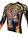 PaladinSport Men\'s Spring and Summer and Autumn Style 100% Polyester Long Sleeved Cycling Jersey(Tiger)