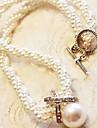 Ovish Kvinnors Elegent Diamond Pearl Classic Halsband