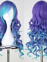 VOCALOID3 LUKA longs boucles bleu et violet Anime Cosplay