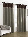 (Two Panels) Classic Check Linen Room Darkening Curtain