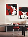 Stretched Canvas Art People Frestelsen av Red Lip Set om 2