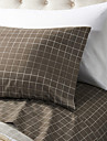 "Sheet Set ,4-Piece Microfiber Plaid Brown med 12 ""Fickdjup"