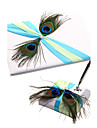 Peacock Pattern With Feather Wedding Guest Book and Pen Set Sign In Book