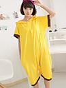 kigurumi Pyjamas Pika Pika Collant/Combinaison Fete / Celebration Pyjamas Animale Halloween Jaune Couleur Pleine Coton Kigurumi Pour